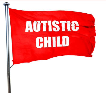 autistic: Autistic child sign with orange and black colors, 3D rendering, a red waving flag