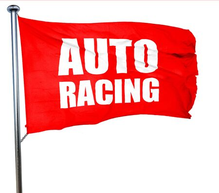 racer flag: auto racing, 3D rendering, a red waving flag Stock Photo