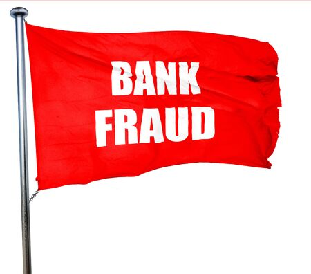 scammer: Bank fraud background with some smooth lines, 3D rendering, a red waving flag