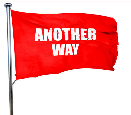 another way: another way, 3D rendering, a red waving flag