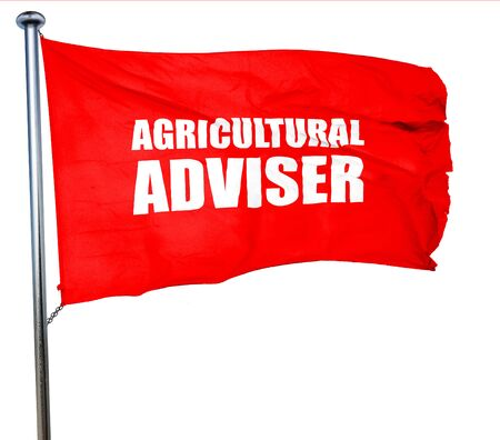 subsidy: agricultural adviser, 3D rendering, a red waving flag