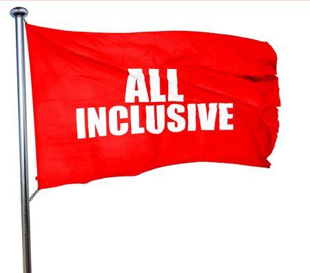 inclusive: all inclusive, 3D rendering, a red waving flag Stock Photo