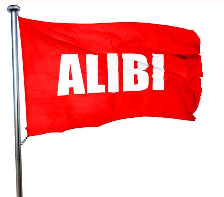 juror: alibi, 3D rendering, a red waving flag Stock Photo