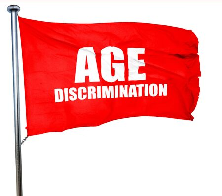 pension cuts: age discrimination, 3D rendering, a red waving flag