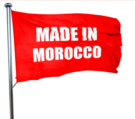 made in morocco: Made in morocco with some soft smooth lines, 3D rendering, a red waving flag