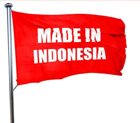 Made in indonesia with some soft smooth lines, 3D rendering, a red waving flag