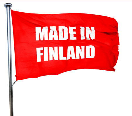 made in finland: Made in finland with some soft smooth lines, 3D rendering, a red waving flag