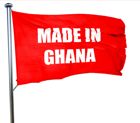 ghanese: Made in ghana with some soft smooth lines, 3D rendering, a red waving flag