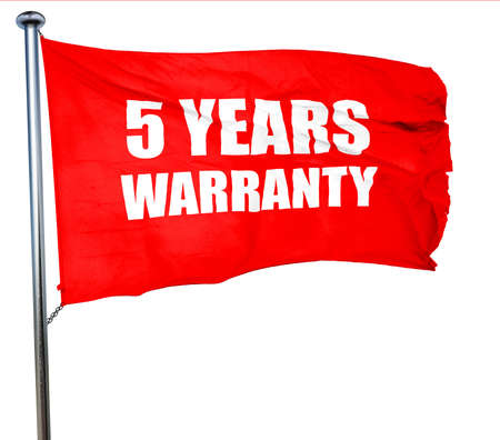3 5 years: 5 years warranty, 3D rendering, a red waving flag