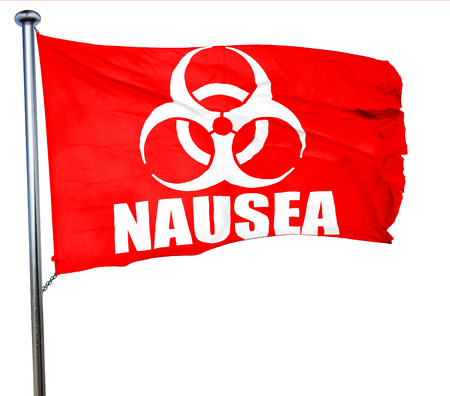 nausea: Nausea concept background with some soft smooth lines, 3D rendering, a red waving flag