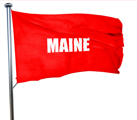 maine: maine, 3D rendering, a red waving flag Stock Photo