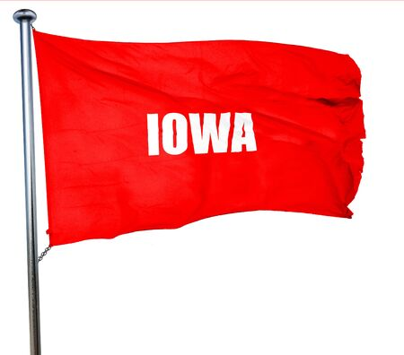 iowa: iowa, 3D rendering, a red waving flag
