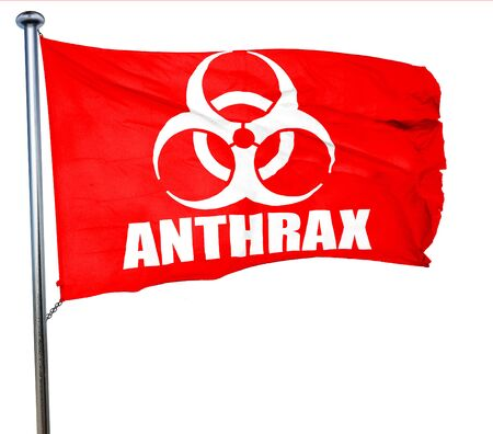 anthrax: Anthrax virus concept background with some soft smooth lines, 3D rendering, a red waving flag Stock Photo