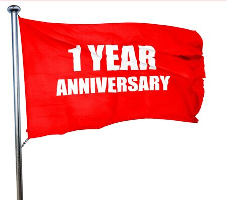 1 year: 1 year anniversary, 3D rendering, a red waving flag