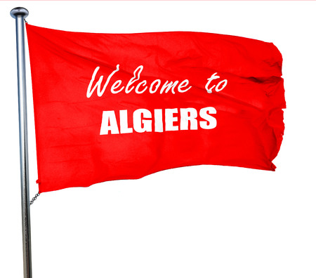 algiers: Welcome to algiers with some smooth lines, 3D rendering, a red waving flag Stock Photo