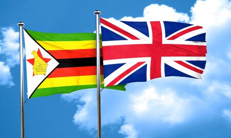 britain flag: Zimbabwe flag with Great Britain flag, 3D rendering
