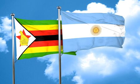 zimbabue: bandera de Zimbabwe con la bandera argentina, 3D