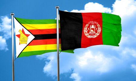 zimbabwe: Zimbabwe flag with afghanistan flag, 3D rendering