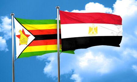 bandera egipto: bandera de Zimbabwe con bandera de egipto, 3D