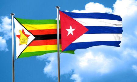 cuba flag: Zimbabwe flag with cuba flag, 3D rendering Stock Photo