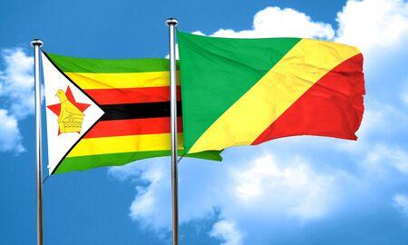 zimbabwe: bandera de Zimbabwe con la bandera de congo, 3D