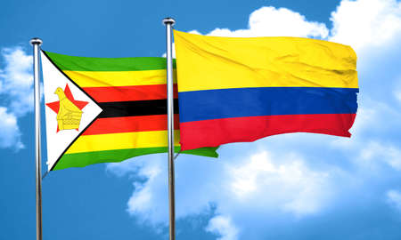 colombia flag: Zimbabwe flag with Colombia flag, 3D rendering Stock Photo