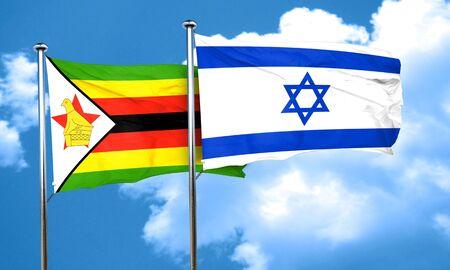 israel flag: Zimbabwe flag with Israel flag, 3D rendering Stock Photo