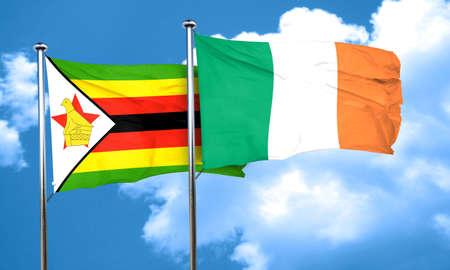 bandera de irlanda: bandera de Zimbabwe con la bandera de Irlanda, 3D Foto de archivo