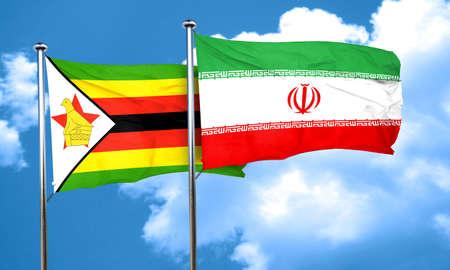 zimbabwe: bandera de Zimbabwe con la bandera de Ir�n, 3D