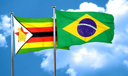 zimbabwe: Zimbabwe flag with Brazil flag, 3D rendering