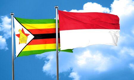 zimbabwe: Zimbabwe flag with Indonesia flag, 3D rendering Stock Photo