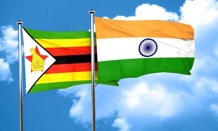 zimbabwe: bandera de Zimbabwe con la bandera de la India, 3D