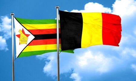 zimbabwe: Zimbabwe flag with Belgium flag, 3D rendering