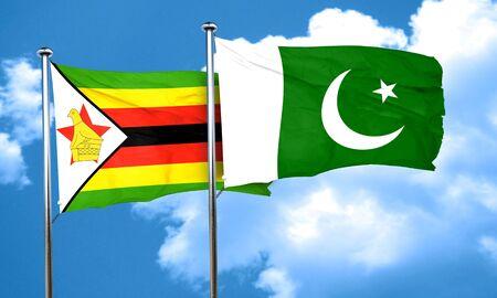 zimbabwe: Zimbabwe flag with Pakistan flag, 3D rendering