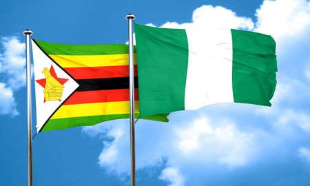 nigeria: Zimbabwe flag with Nigeria flag, 3D rendering