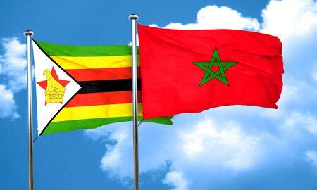 zimbabwe: bandera de Zimbabwe con bandera de Marruecos, 3D