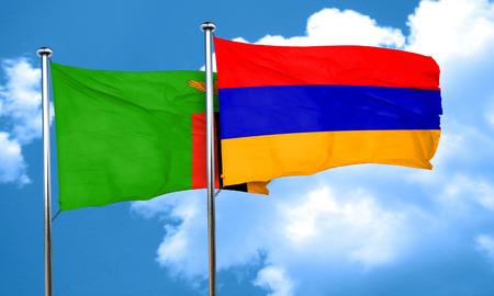 zambia flag: Zambia flag with Armenia flag, 3D rendering Stock Photo