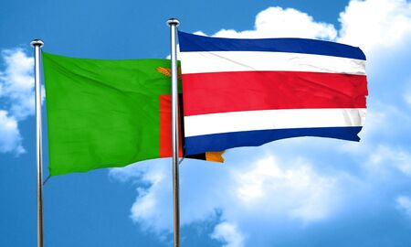 zambian flag: Zambia flag with Costa Rica flag, 3D rendering