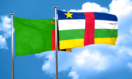 zambia flag: Zambia flag with Central African Republic flag, 3D rendering