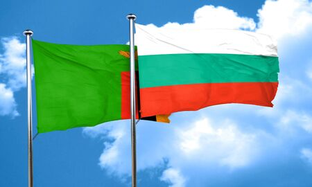 zambia flag: Zambia flag with Bulgaria flag, 3D rendering