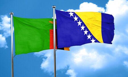 zambia flag: Zambia flag with Bosnia and Herzegovina flag, 3D rendering