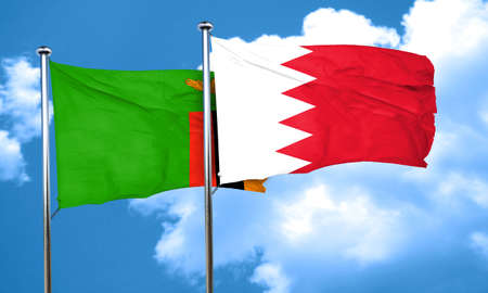 zambia flag: Zambia flag with Bahrain flag, 3D rendering