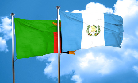 flag of guatemala: Zambia flag with Guatemala flag, 3D rendering