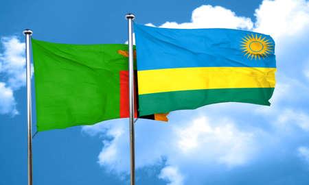 zambia flag: Zambia flag with rwanda flag, 3D rendering Stock Photo