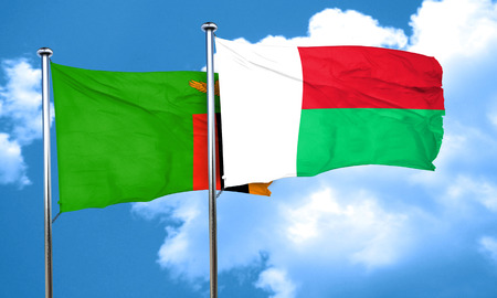 zambia: Zambia flag with Madagascar flag, 3D rendering