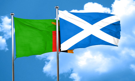 zambia flag: Zambia flag with Scotland flag, 3D rendering