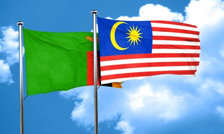 zambia flag: Zambia flag with Malaysia flag, 3D rendering
