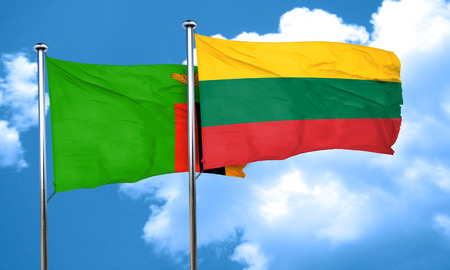lithuania: Zambia flag with Lithuania flag, 3D rendering