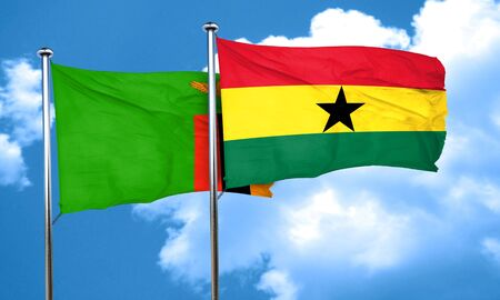 ghanese: Zambia flag with Ghana flag, 3D rendering Stock Photo