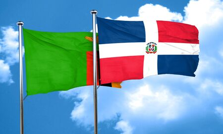 zambia flag: Zambia flag with Dominican Republic flag, 3D rendering Stock Photo